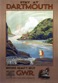 Stay at Dartmouth, Devon's Beauty Spot. Vintage GWR Travel Poster by Frieda Lingstrom